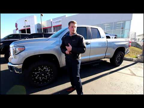"""SILVER DOUBLE CAB TUNDRA 20"""" FUEL LETHAL WHEELS"""