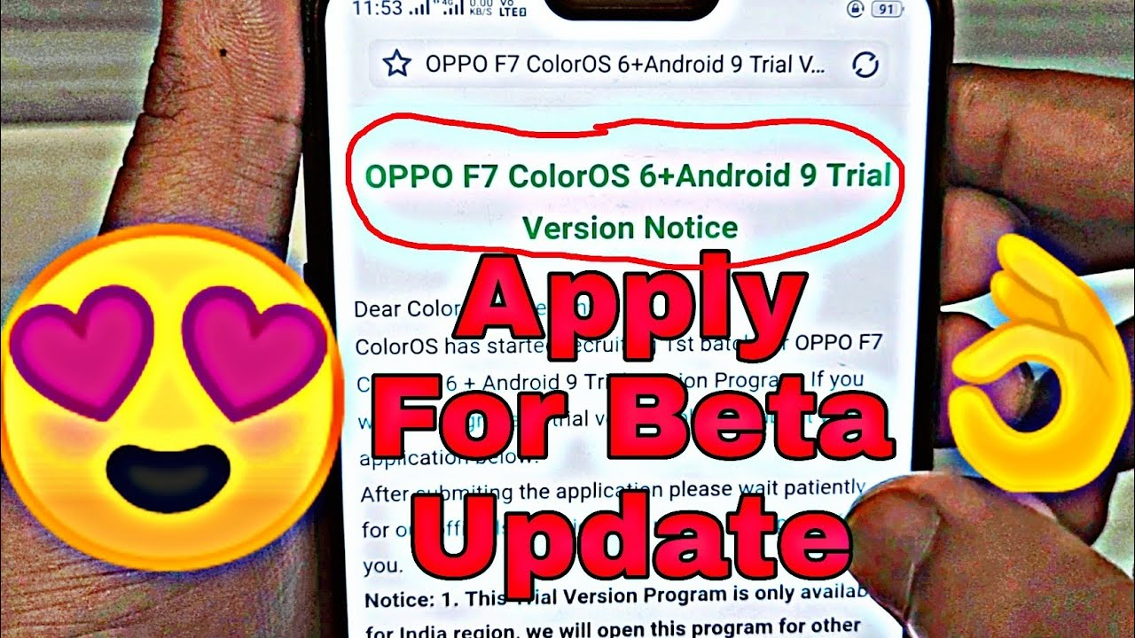 13 12 MB] Application Form of OPPO F7 ColorOs 6 Beta Update
