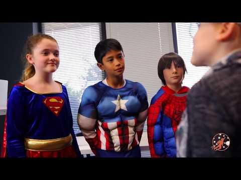 New Sky Kids Super Episode 7 - Superhero Intern w Captain America and Supergirl  + Little Heroes