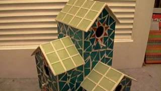 Decorative 2-level Glass Mosaic Bird House