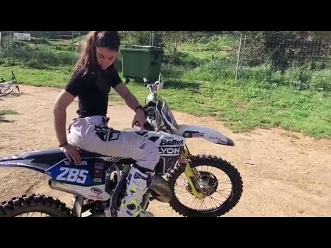 Hot motocross girl ducked