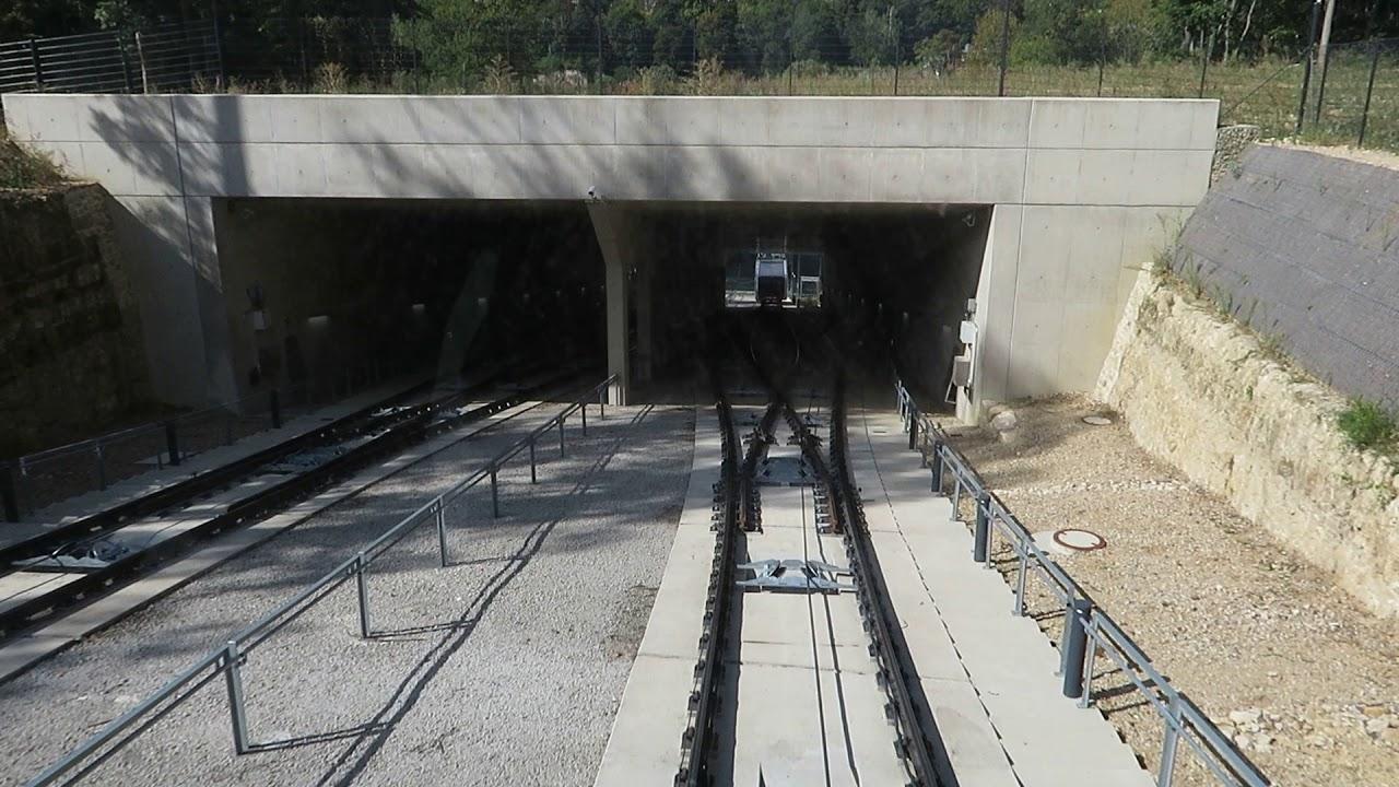 Doppelmayr Standseilbahn Pfaffenthal-Kirchberg Luxemburg Funicular Down 2018
