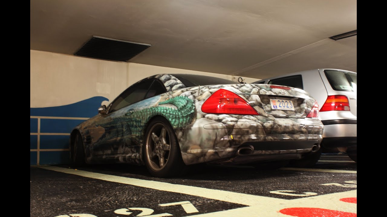 Crazy crocodile mercedes sl in monaco youtube for Garage mercedes monaco