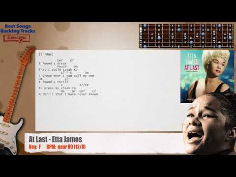 At Last - Etta James Guitar Backing Track With Chords And Lyrics