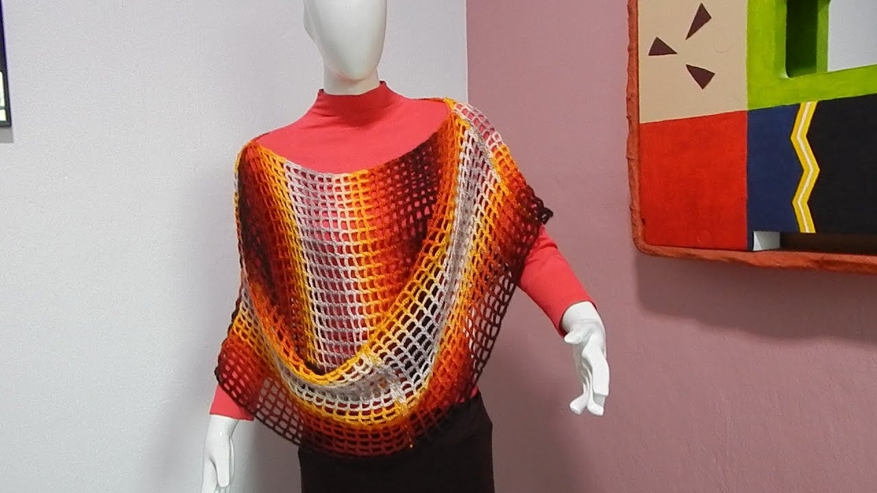 Capa poncho chal #Ganchillo #Crochet Easy Cape shawl Blouse lay out ...