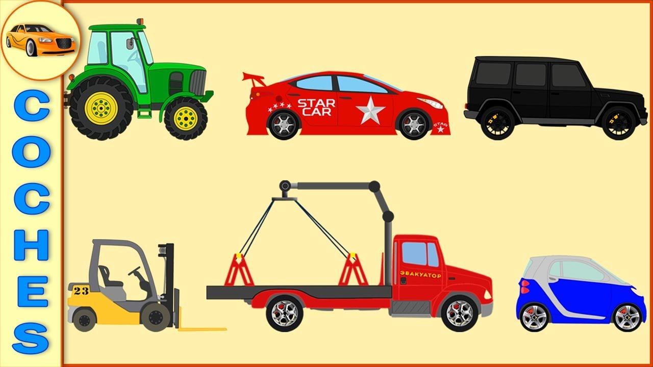 Coches Camiones Tractores Aprender Los Nombres De Transportes Para Ninos Youtube