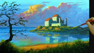 How to Paint Sunset with Old Castle Near the Beach in Acrylic