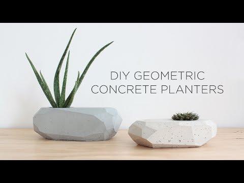 DIY Geometric Concrete Planters