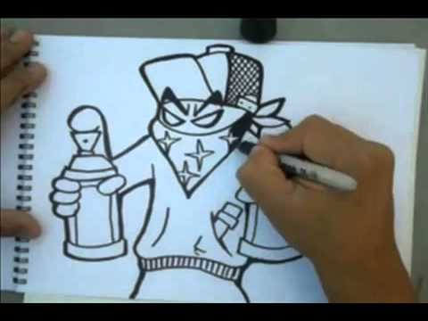 How to Draw a grafitti character holding spraycans-by Wizard