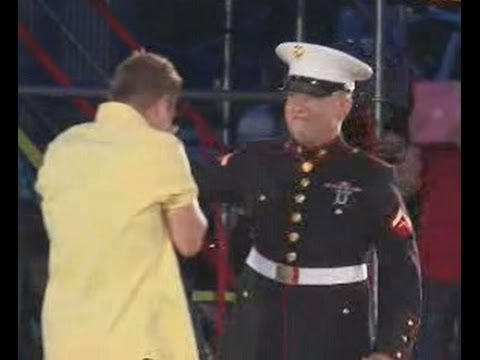 Marine surprises brother during Cedar Point Luminosity show