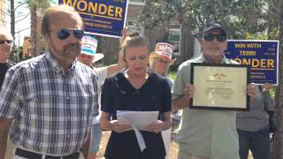 Terri Wonder hosts press conference on allegations about voting record