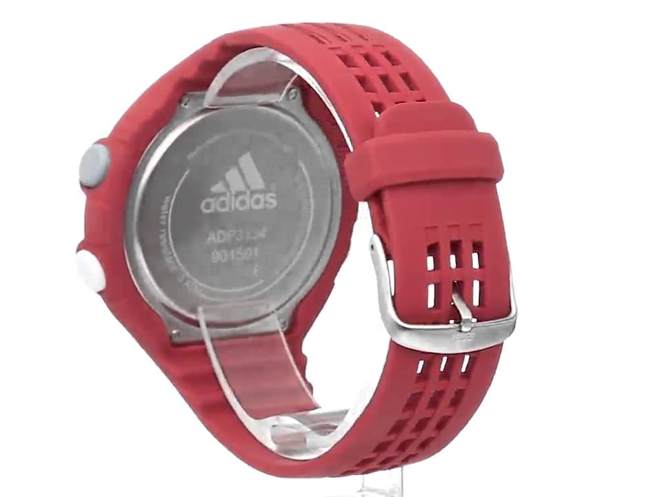 reputable site e29c3 c7721 adidas Men s ADP3134 Stainless Steel Watch With Red Polyurethane Band