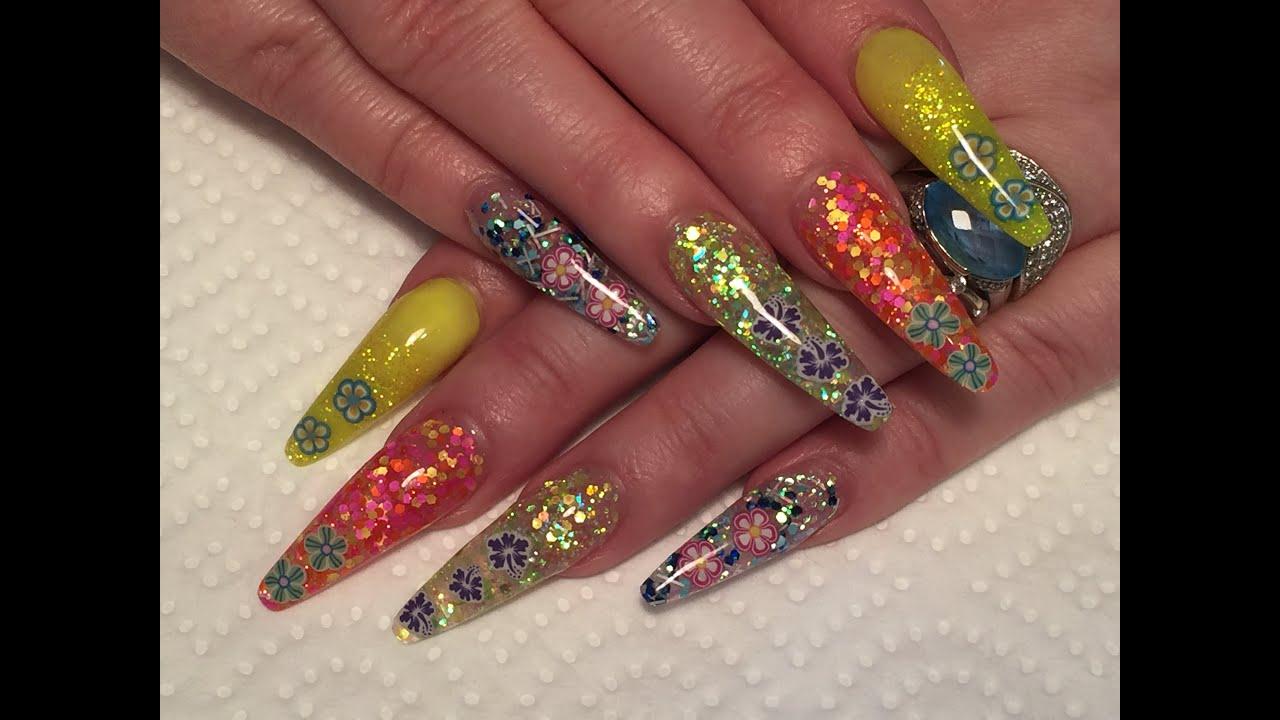 Spring Nails - Acrylic Nails, sculpted, coffin/ballerina ...