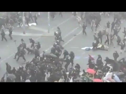 Столкновения с полицией в Берлине,пострадали 45 полицейских
