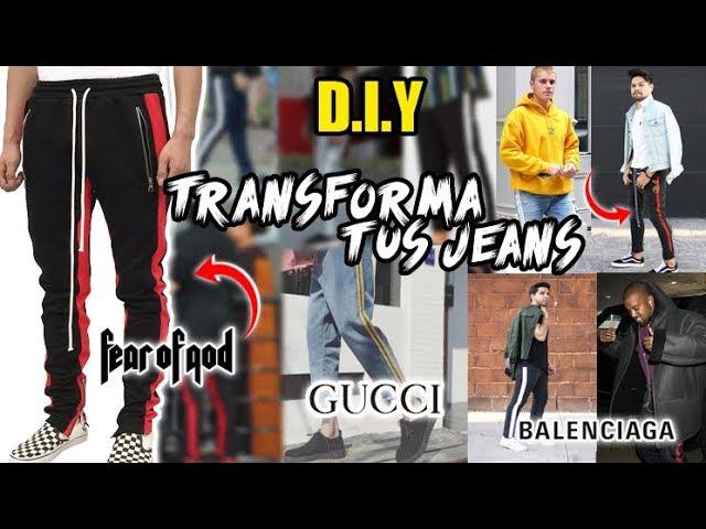 Diy Transforma Tus Jeans Al Estilo Gucci Balenciaga Fear Of God Striped Track Pants Youtube
