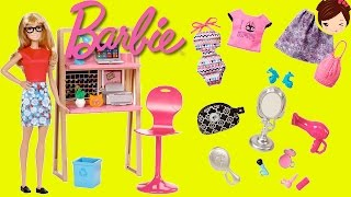 Muñeca Barbie con Escritorio y  Habitacion  de Anabella + Uniformes Ropa Y Accesorios de Moda thumbnail