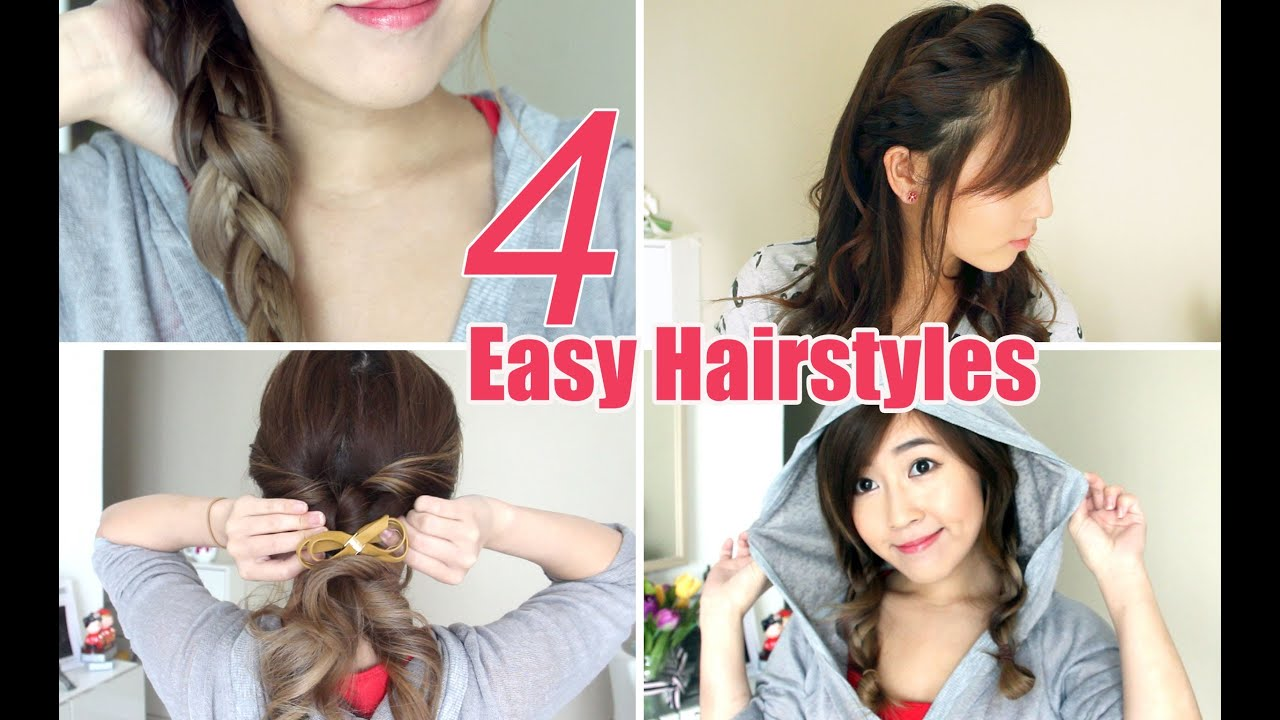 4 Easy & Cute Hairstyles YouTube