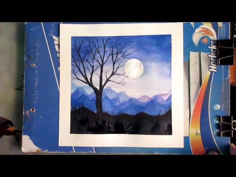 Simple Night Landscape Painting With Watercolor