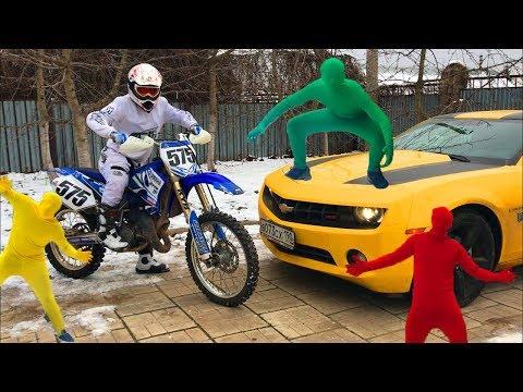 Green Man on Convertible Corvette VS Yellow Man & Red Man on Chevy Camaro for Kids