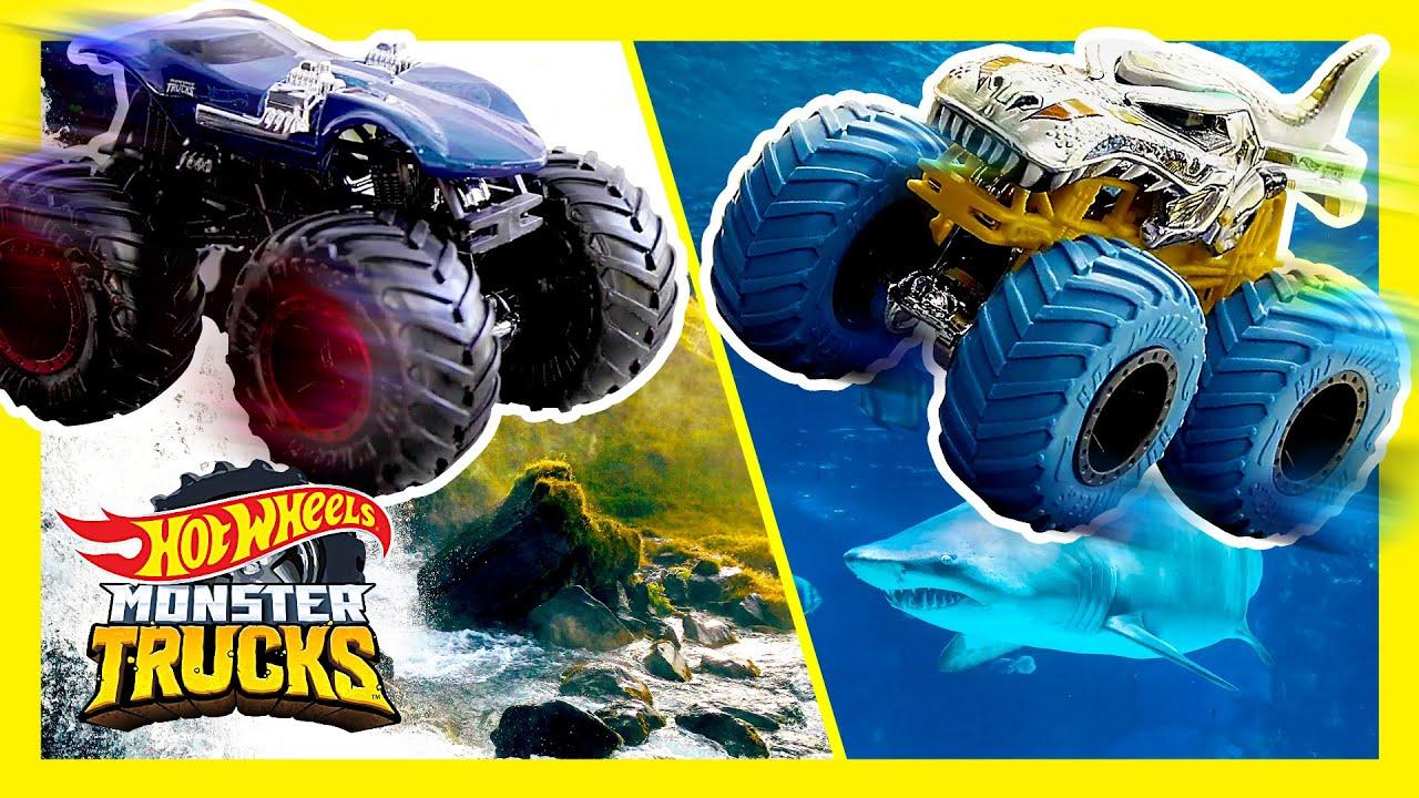 MONSTER TRUCKS GO CLIFF DIVING! | Monster Trucks | @Hot Wheels