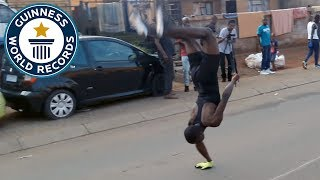 Most consecutive one handed backflips - Guinness World Records