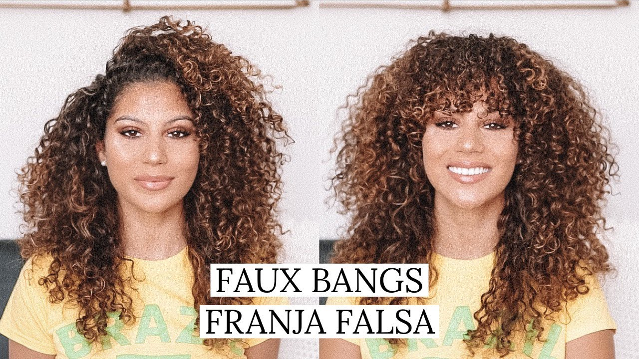 Faux Bangs On Curly Hair Franja Falsa Eng Portuguese Translation