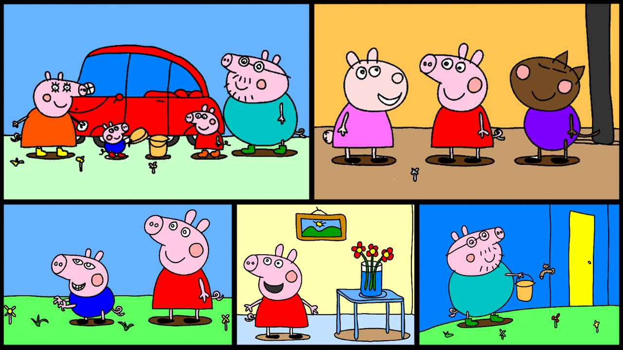 Peppa Pig Coloring Pages Part 6 - Peppa Pig Coloring Book - YouTube