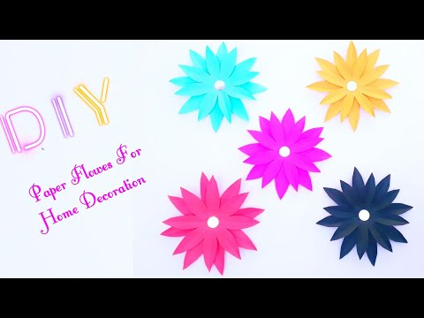 how-to-make-simple-and-easy-paper-flowers-at-home-|-diy-room-decor|paper-crafts-for-home-decoration