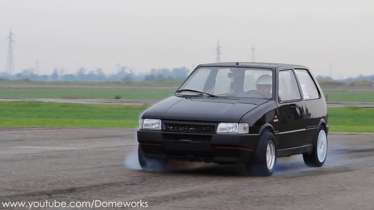nos! 450hp fiat uno turbo launches!! 1/4 mile dragrace [wet track