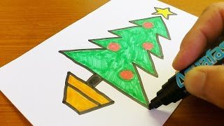 Pk Very Easy !  How to Draw a Christmas tree - Easy and Cute art on paper for kids