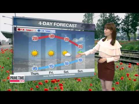 Winds and clouds along the eastern coast, but hot elsewhere