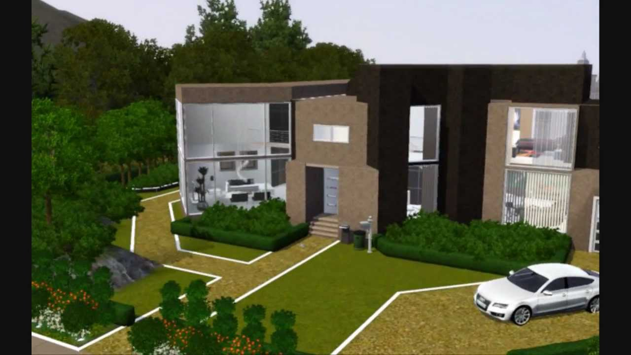 The sims 3 modern house 3 with infinity pool youtube for Pool design sims 4