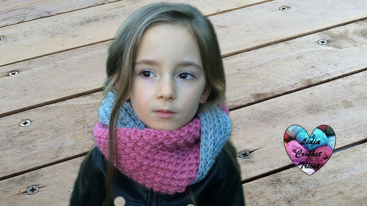 Snood au tricot et au crochet facil   Cuello en dos agujas y crochet facil 6c3e53387d9