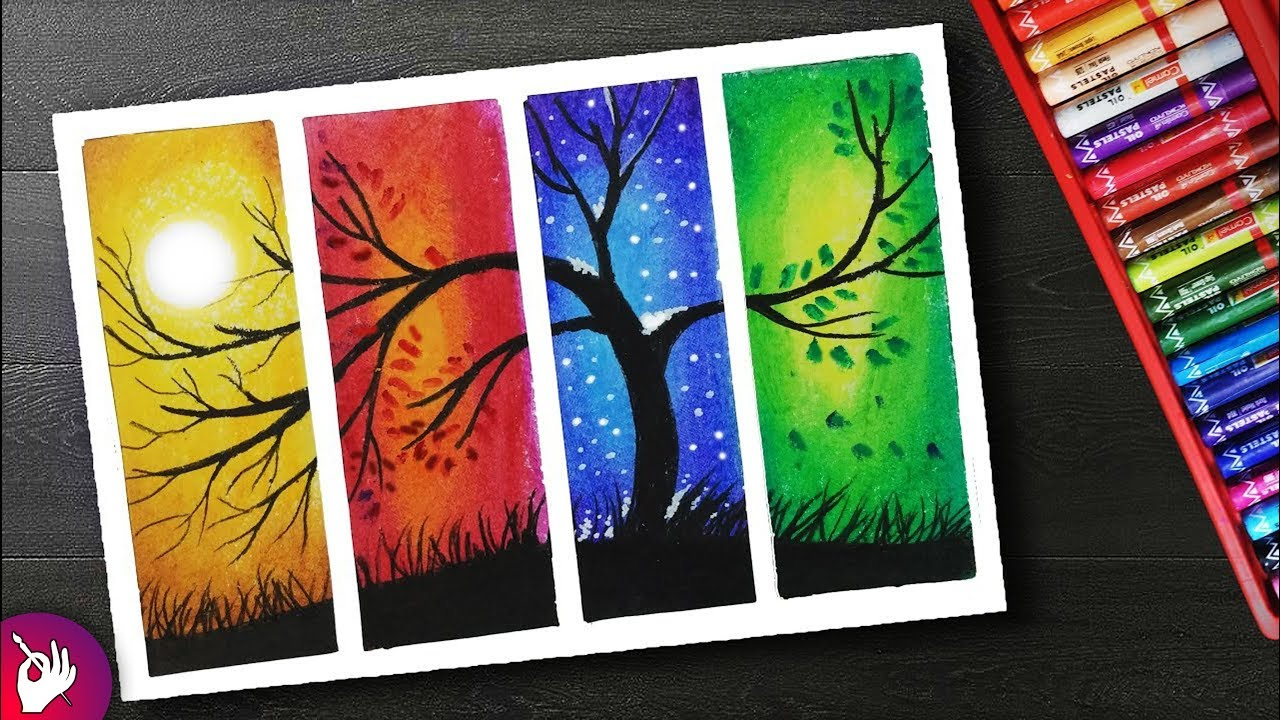 How To Draw Four Season Scenery Drawing With Oil Pastels