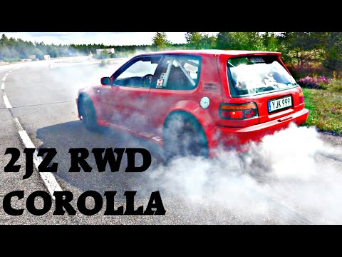 Toyota Corolla 2jz Rwd 400hp++ || Burnouts and 1/2 mile dragrace
