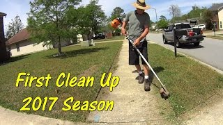 Cutting Grass - Spring Clean Up with Basic Lawn Mowing Equipment