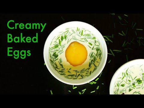 Super Easy Baked Eggs for Brunch with Cream, Mustard and Chives | ASMR Cooking | In Carina's Kitchen