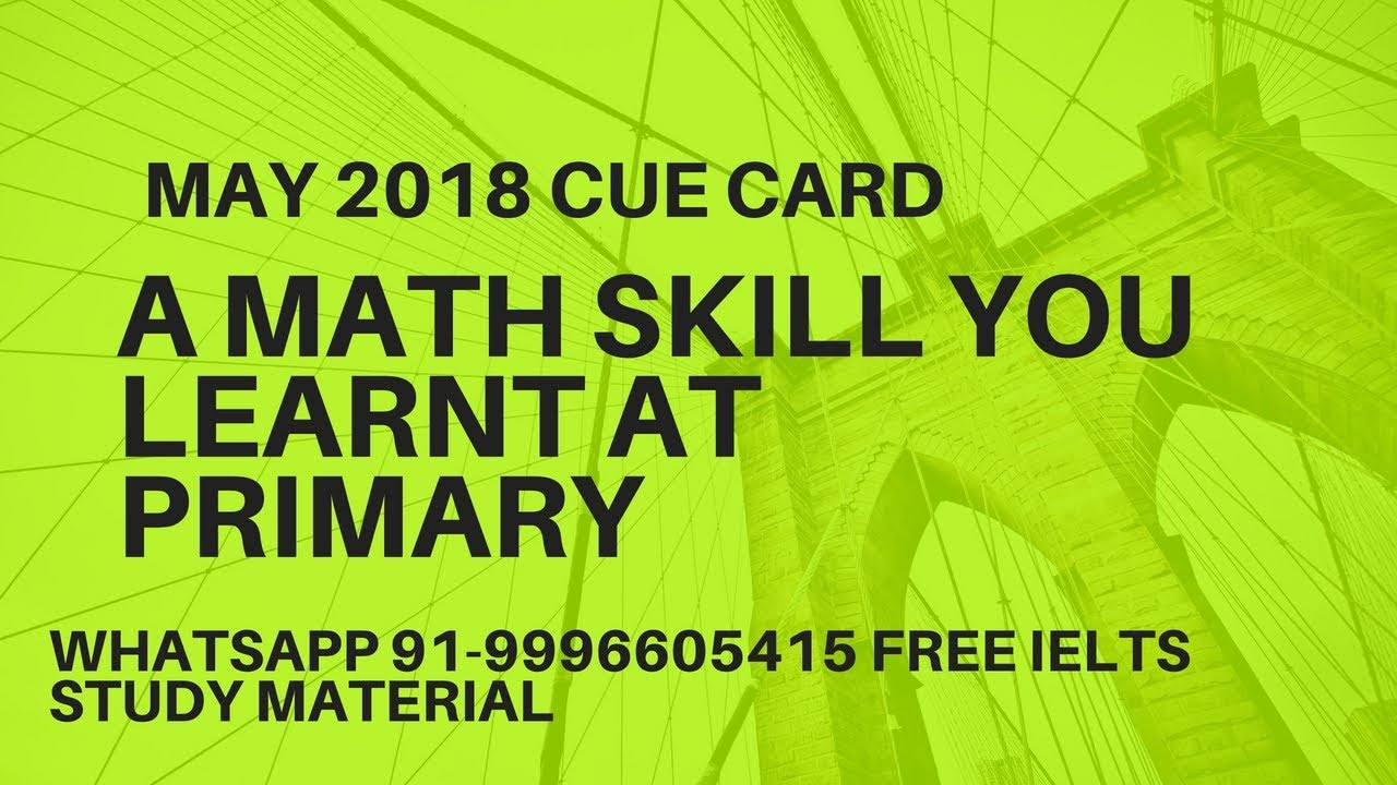 A math skill you learnt at elementary school IELTS Cue Card - YouTube