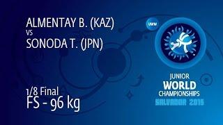 1/8 FS - 96 Kg: B. ALMENTAY (KAZ) Df. T. SONODA (JPN) By TF, 10-0