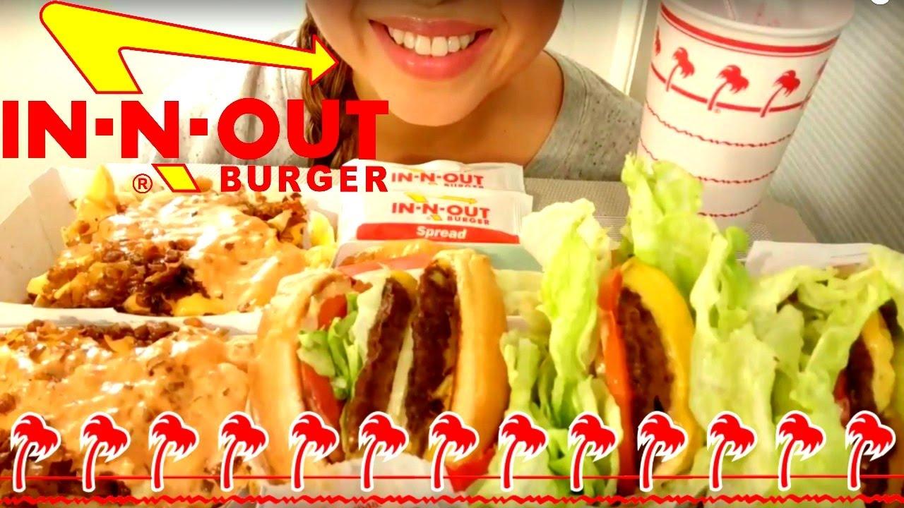 In N Out Burger Mukbang Asmr American Food Eating Show Eating Sounds