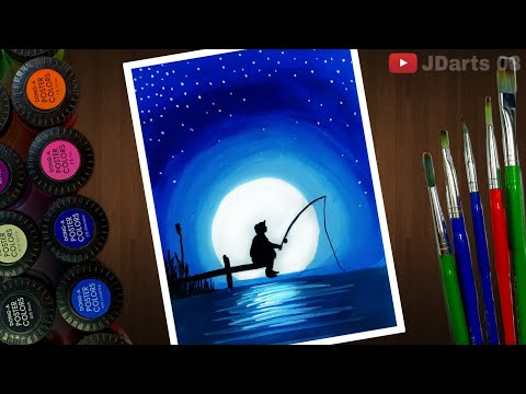 The Fishing Man Painting For Beginners With Poster Colours | Tutorial - JDarts 08