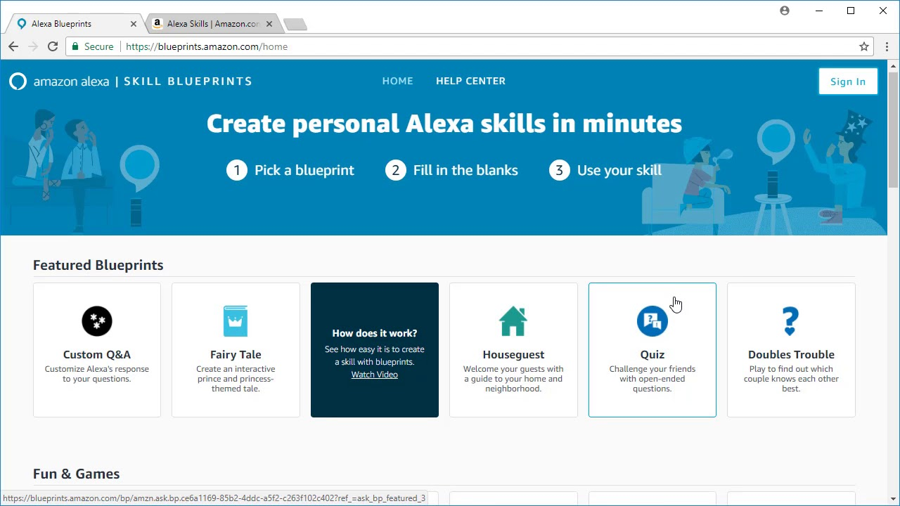 Alexa skill blueprints intro youtube alexa skill blueprints intro malvernweather Images
