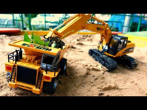 RC Cars For Kids At The Sandbox: A Toy Excavator & A Toy Truck Clean Up The Playground.