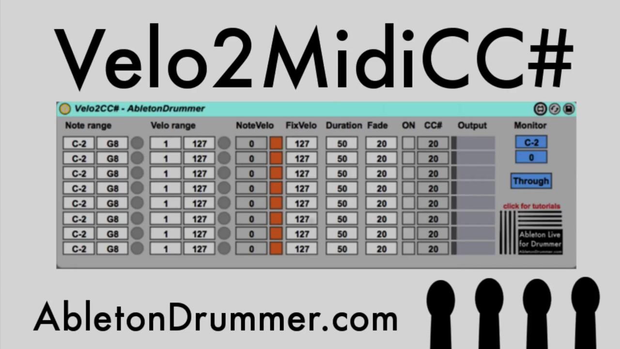 Velocity to Midi CC Max for Live device for Ableton Live - Abletondrumer com