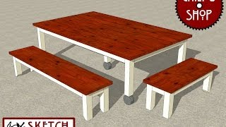 Chief's Shop Sketch Of The Day: Mobile Outdoor Dining Table Benches