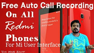 [Hindi] How to Auto Start/Stop Call Recording in All Xiaomi Red Mi Phones. Step By Step.
