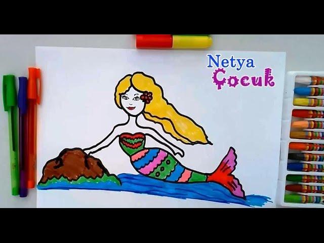 çok Kolay Deniz Kızı çizimi çocuklar Için Netya çocuk