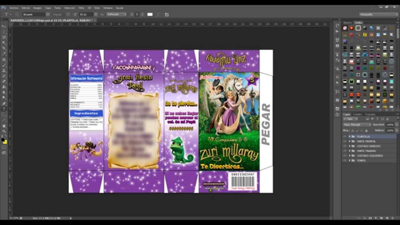 Tutorial Photoshop Invitacion Cajita De Cereal (Rapunzel) - YouTube