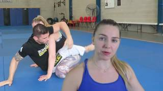 How to sweep an attacker off their feet and choke them. Female Self defence