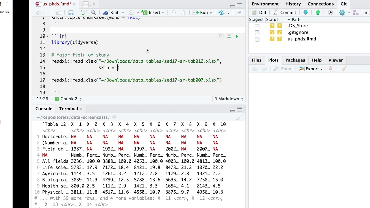 Tidy Tuesday screencast: tidying and analyzing US PhDs in R